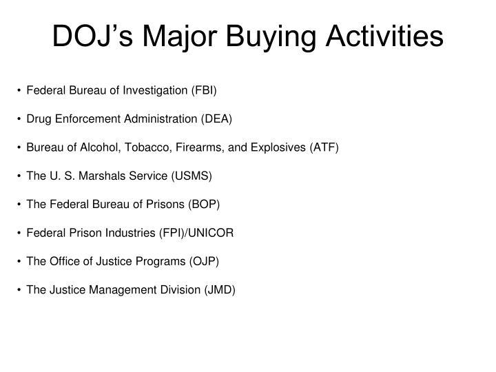 Doj s major buying activities