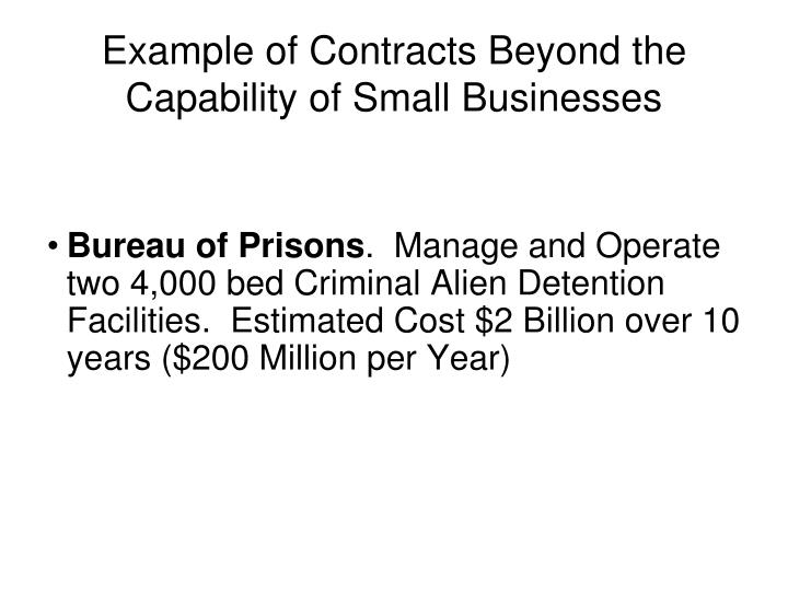 Example of Contracts Beyond the Capability of Small Businesses