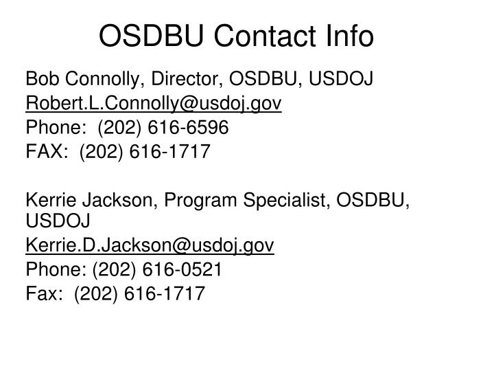 OSDBU Contact Info