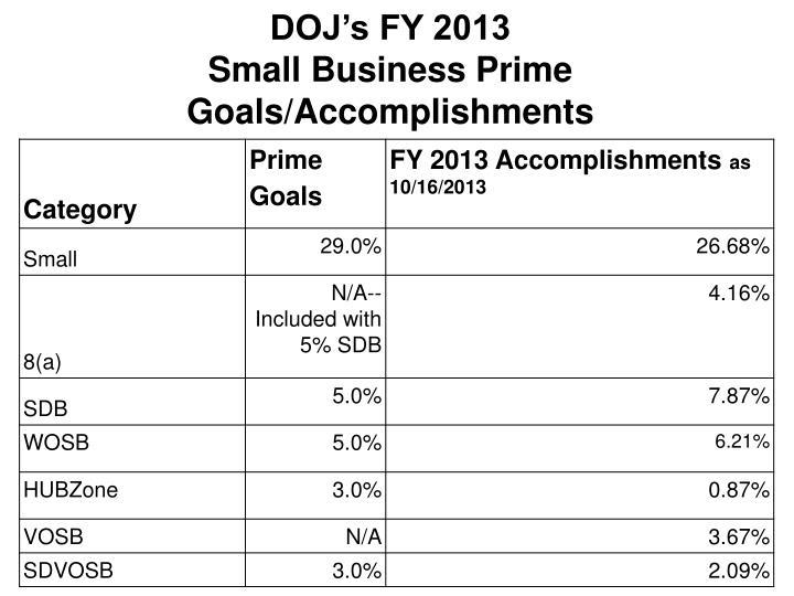 DOJ's FY 2013