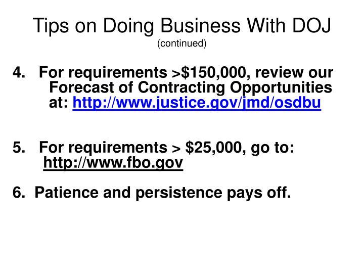 Tips on Doing Business With DOJ
