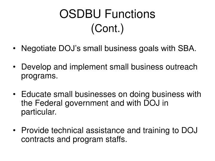 OSDBU Functions