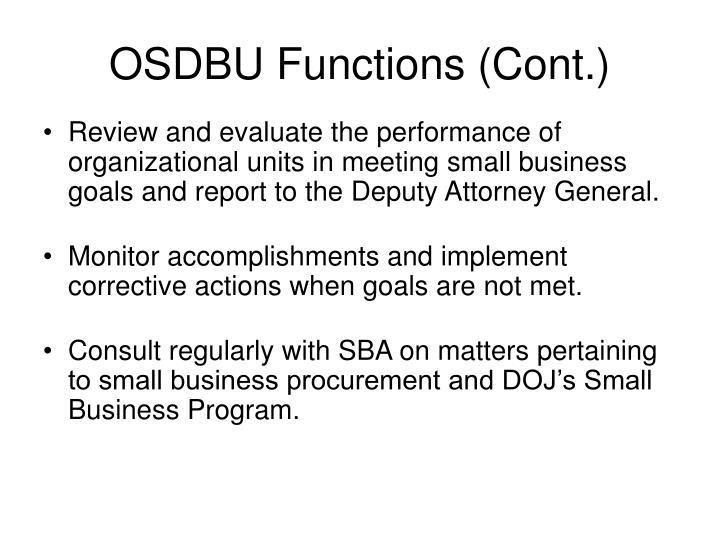 OSDBU Functions (Cont.)