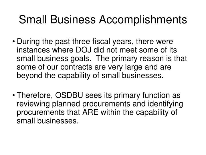 Small Business Accomplishments