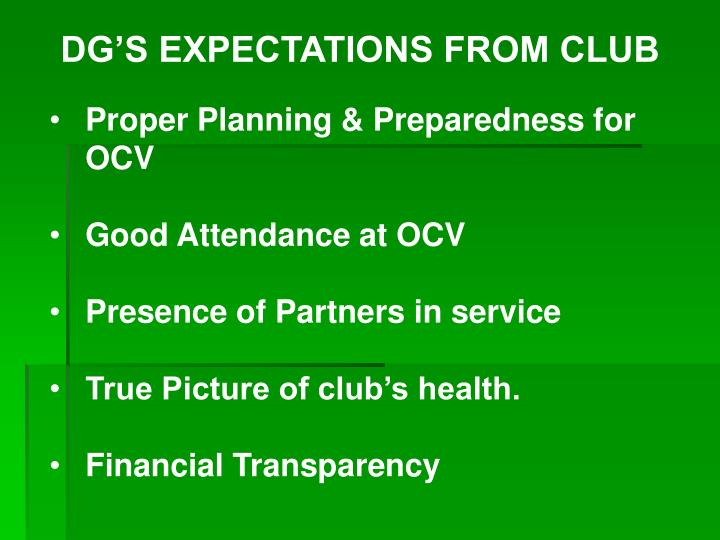 DG'S EXPECTATIONS FROM CLUB