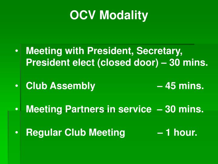 OCV Modality