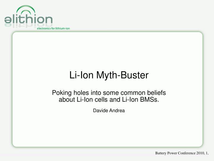 Li-Ion Myth-Buster
