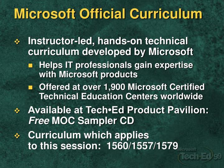 Microsoft Official Curriculum