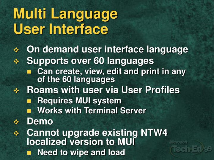 Multi Language UserInterface