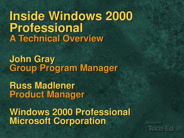 Inside Windows 2000 Professional