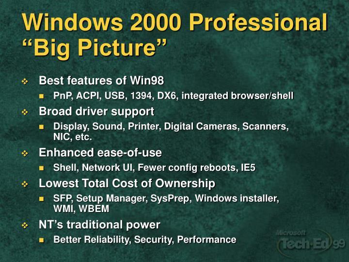 Windows 2000 professional big picture