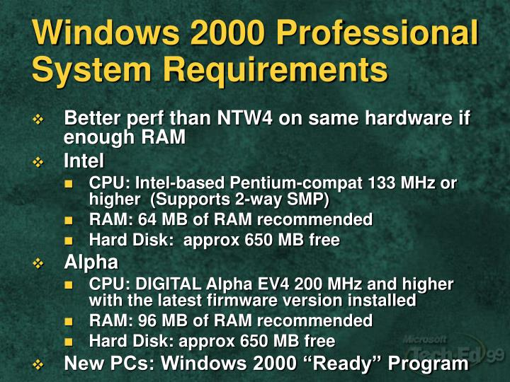 Windows 2000 Professional System Requirements