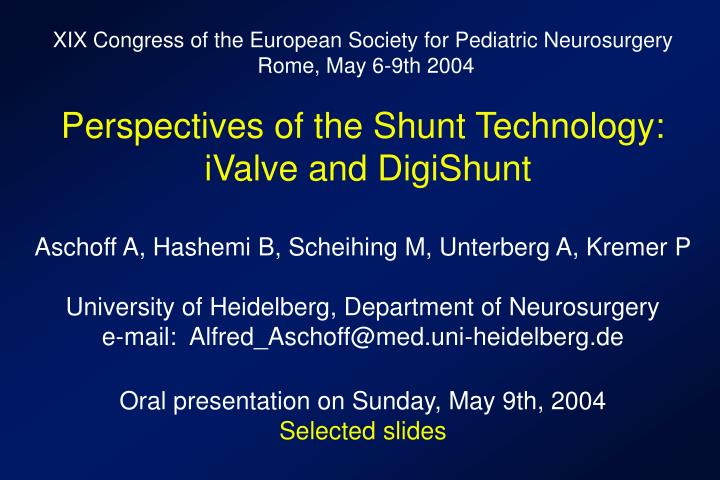 XIX Congress of the European Society for Pediatric Neurosurgery