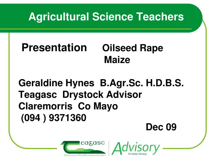 agricultural science teachers n.