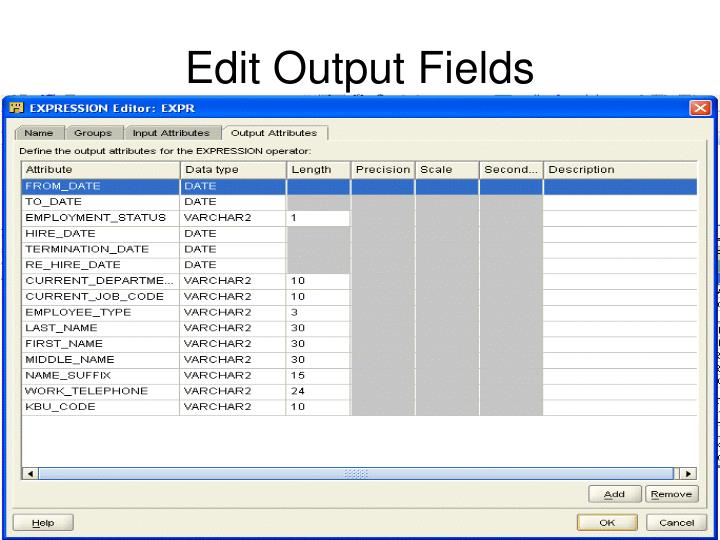 Edit Output Fields