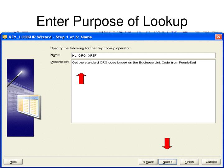 Enter Purpose of Lookup