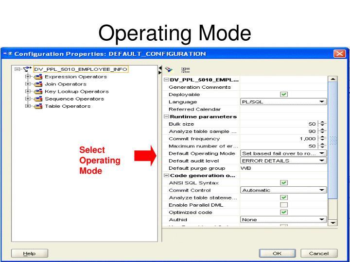 Select Operating Mode