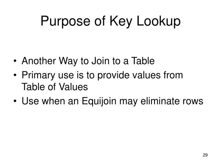 Purpose of Key Lookup