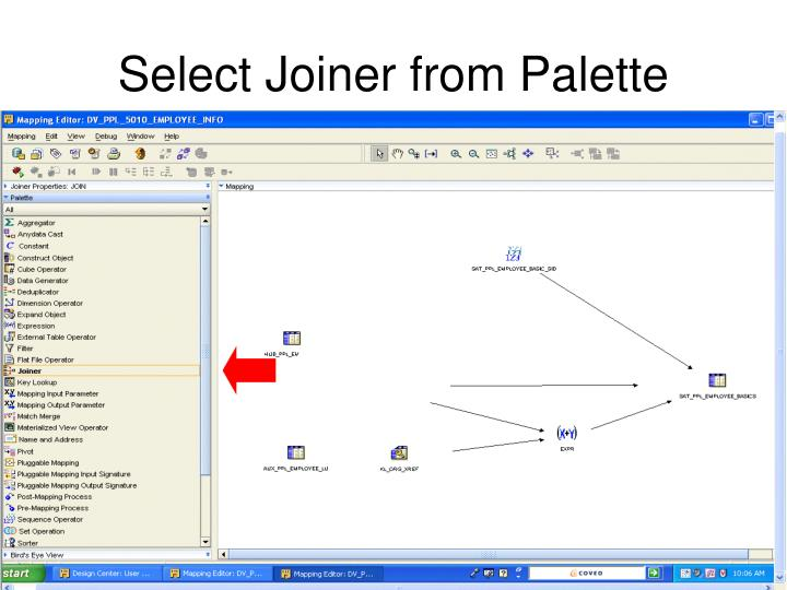 Select Joiner from Palette