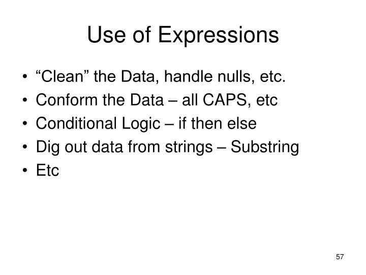 Use of Expressions