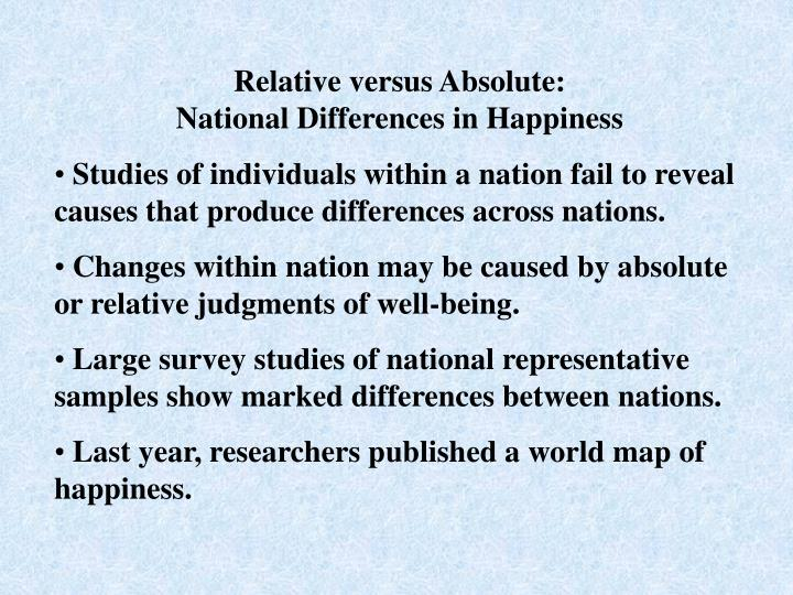 Relative versus Absolute: