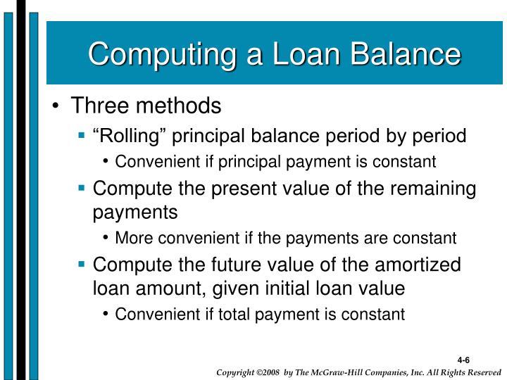 Computing a Loan Balance