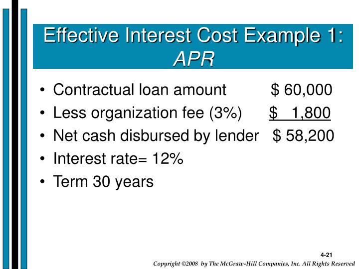 Effective Interest Cost Example 1: