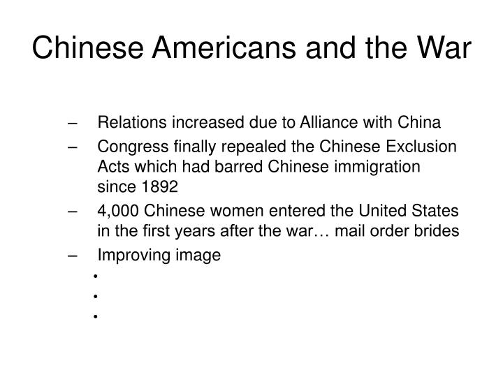 Chinese Americans and the War