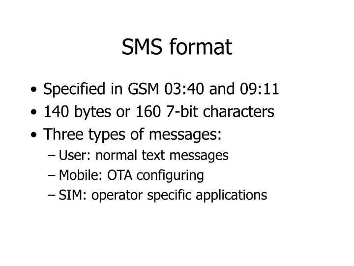 SMS format