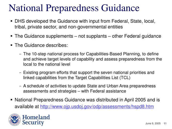 National Preparedness Guidance