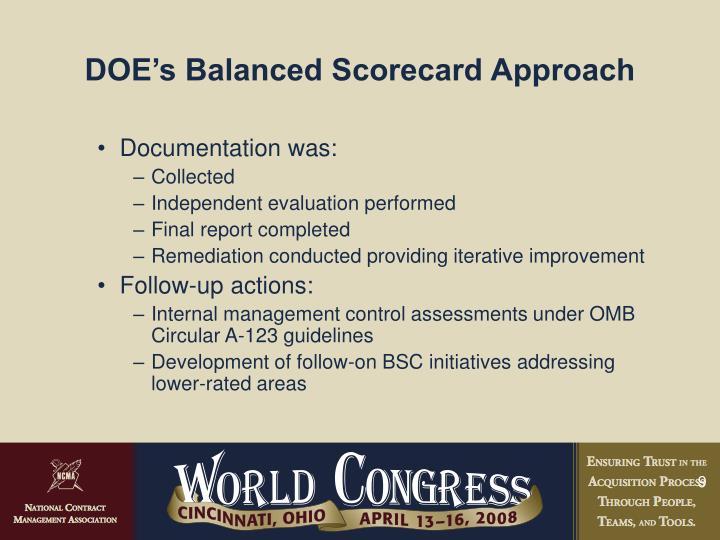 DOE's Balanced Scorecard Approach
