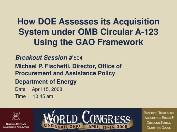 How DOE Assesses its Acquisition System under OMB Circular A-123 Using the GAO Framework