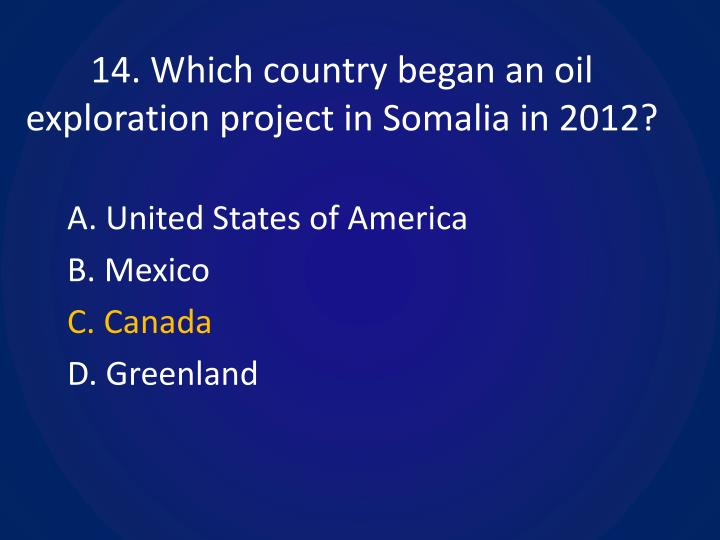 14. Which country began an oil exploration project in Somalia in 2012?