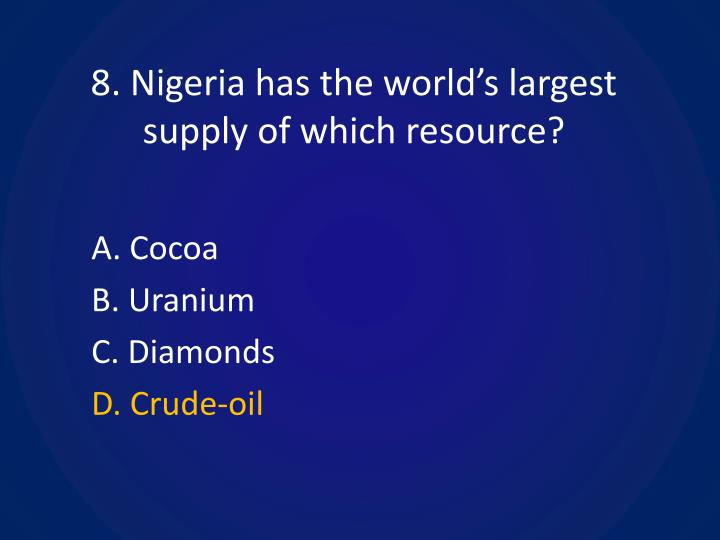 8. Nigeria has the world's largest supply of which resource?