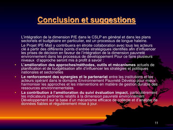 Conclusion et suggestions