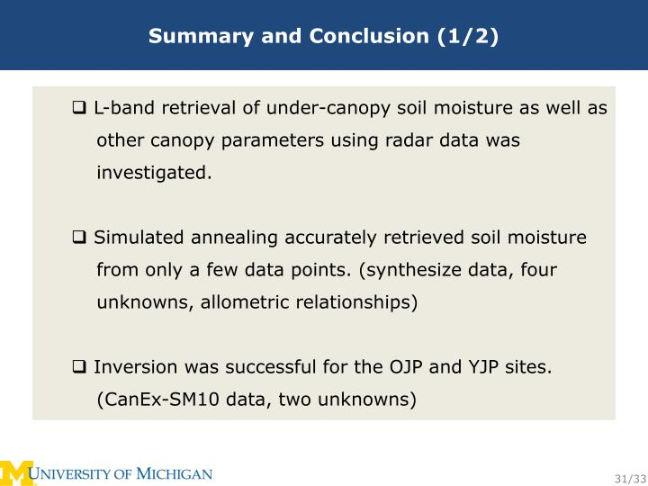 Summary and Conclusion (1/2)