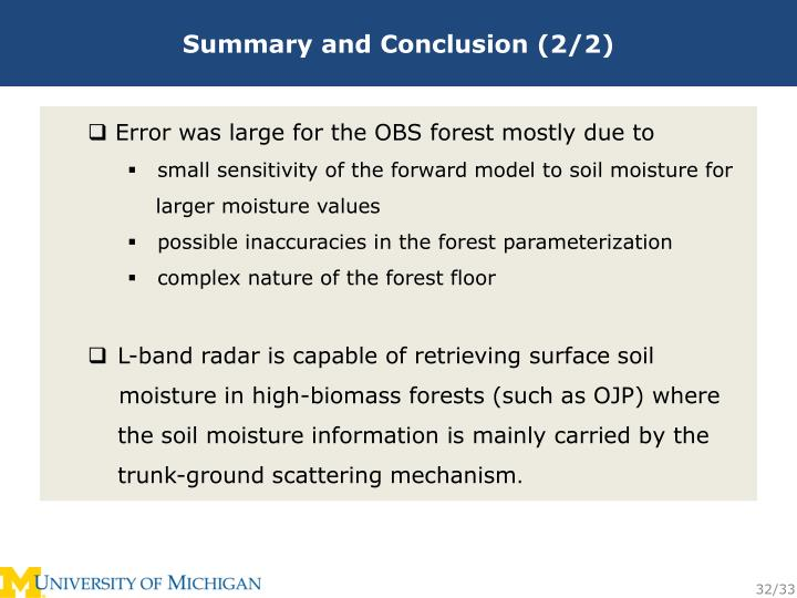 Summary and Conclusion (2/2)
