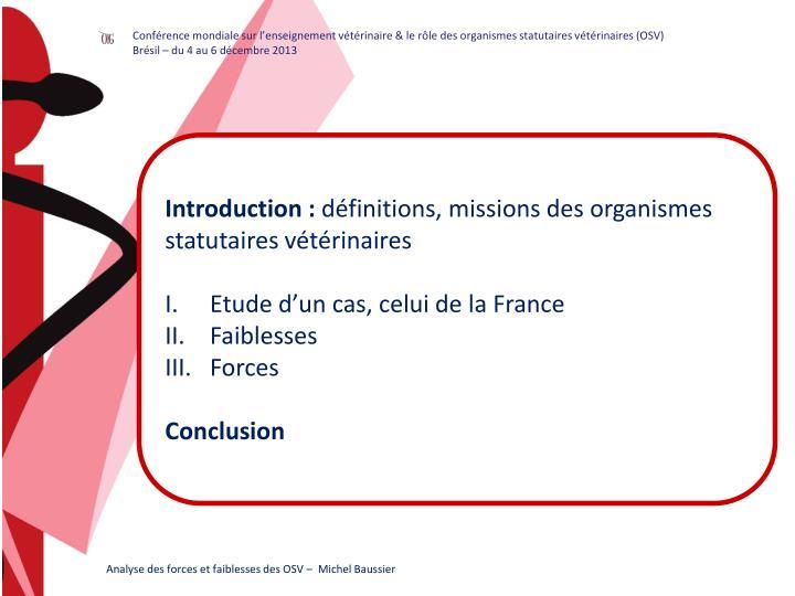 Conférence mondiale sur l'enseignement vétérinaire & le rôle des organismes statutaires vété...