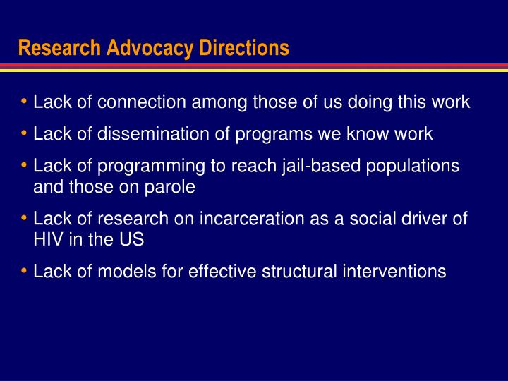 Research Advocacy Directions