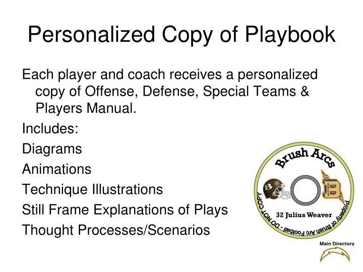 personalized copy of playbook