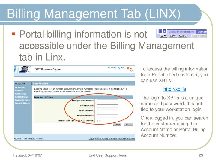 Billing Management Tab (LINX)