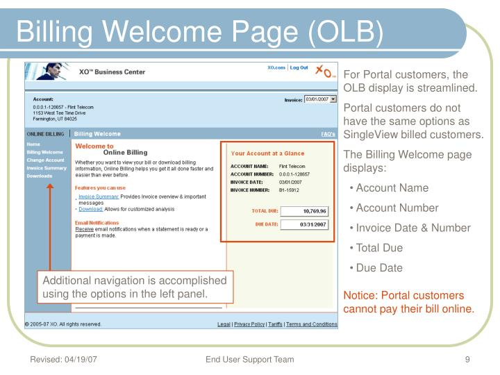 Billing Welcome Page (OLB)