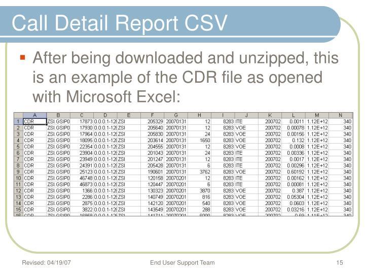 Call Detail Report CSV