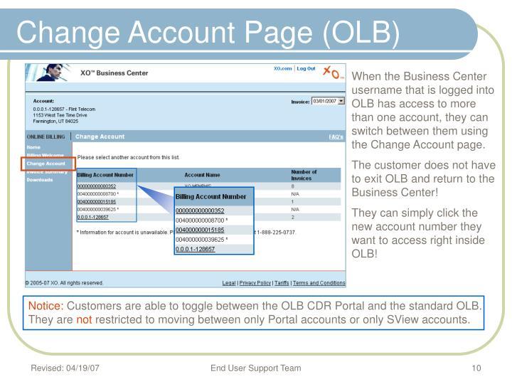 Change Account Page (OLB)