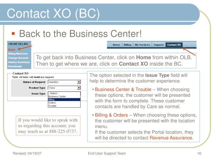 Contact XO (BC)