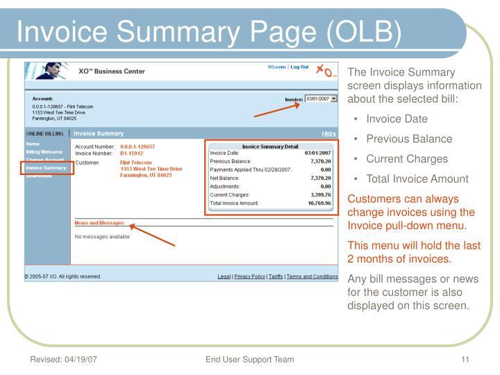Invoice Summary Page (OLB)