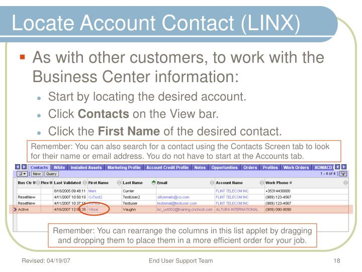 Locate Account Contact (LINX)