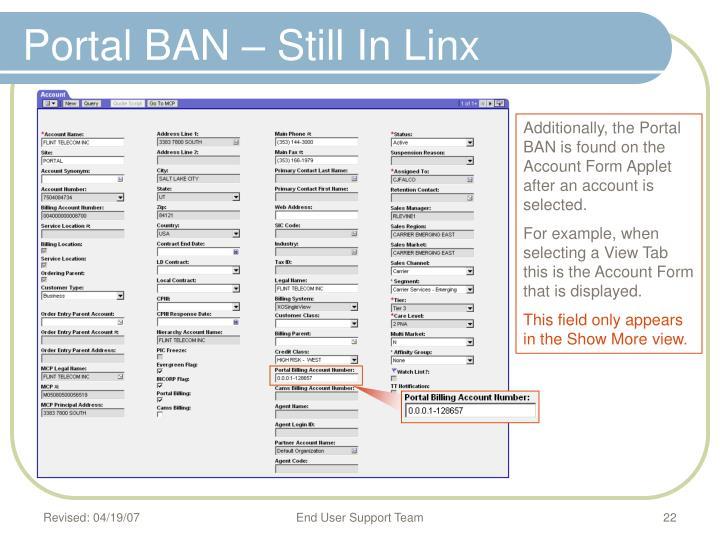Portal BAN – Still In Linx