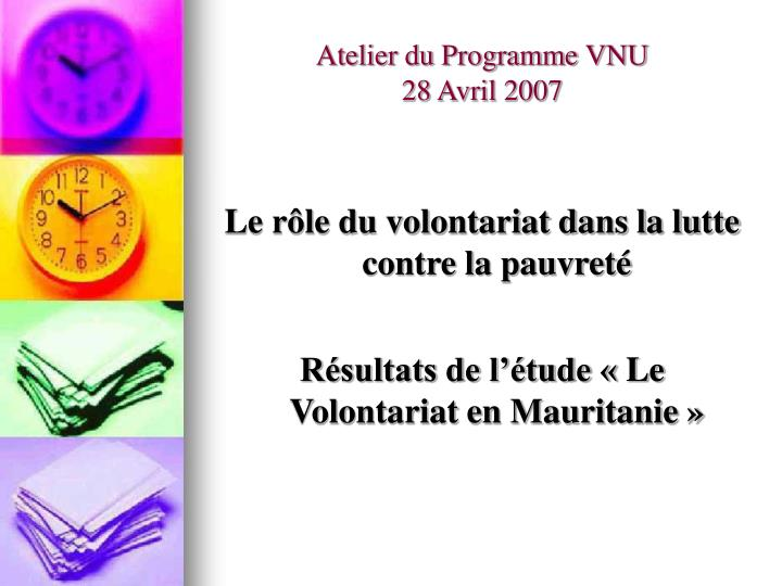 atelier du programme vnu 28 avril 2007 n.