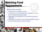 matching fund requirements